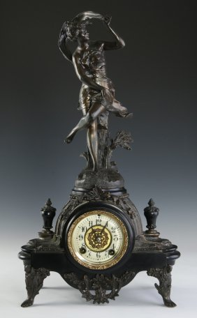 A New Haven French Style Spelter Statue Clock