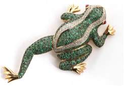 A 14K DIAMOND AND EMERALD ENCRUSTED TREE FROG BROOCH