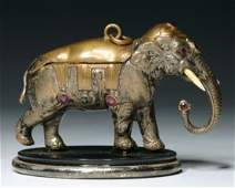 AN EARLY 19TH C. JEWELED ELEPHANT FIGURAL PATCH BOX