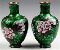 A PAIR OF CHINESE EMERALD GREEN CLOISONNE VASES