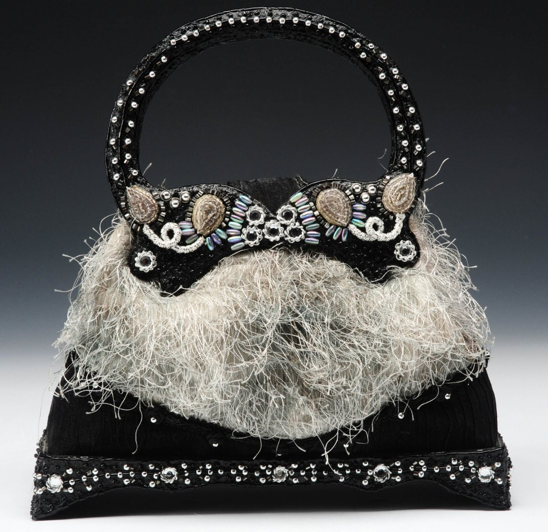 BLACK SATIN WITH SILVER BEADS PURSE BY MARY FRANCES