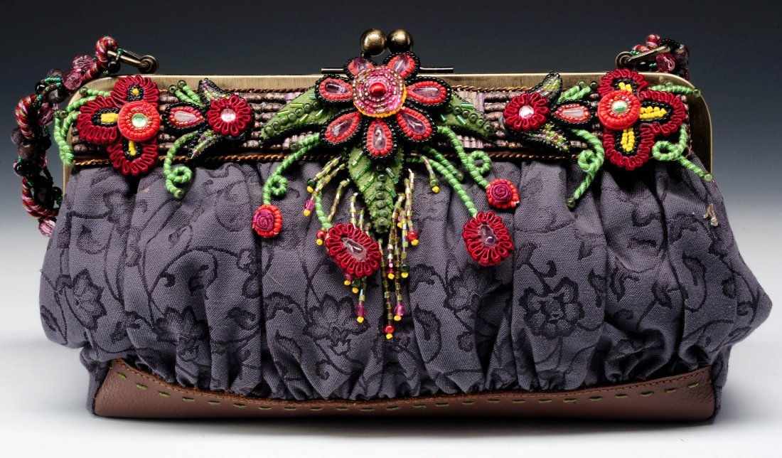 PURPLE AND RED BEADED PURSE BY MARY FRANCES