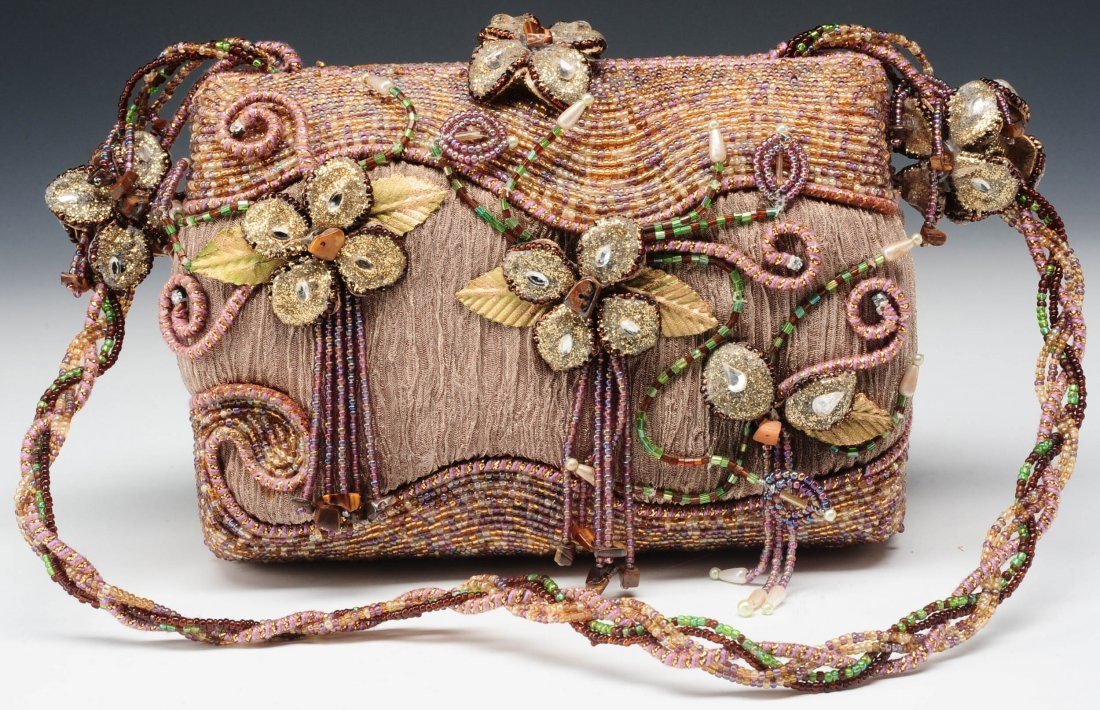 MARY FRANCES PURPLE TAUPE BEADED PURSE