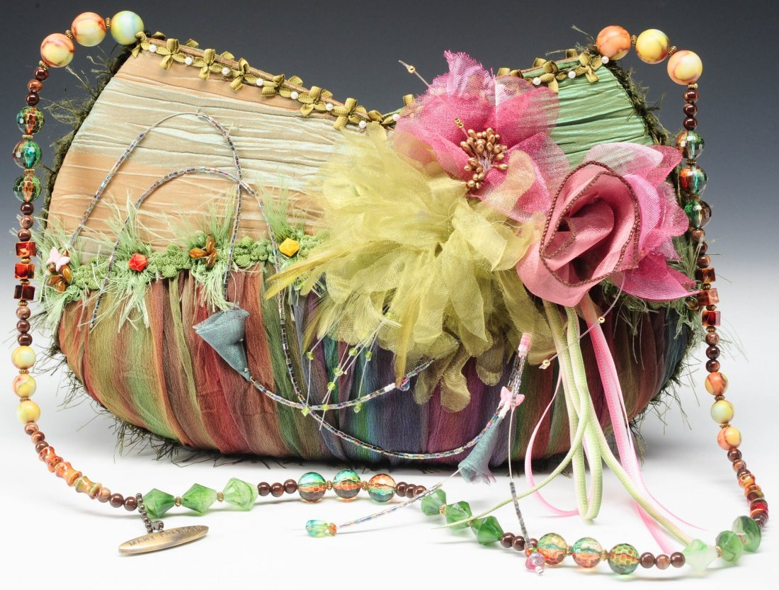 MARY FRANCES PINK, PURPLE AND GREEN ORGANZA PURSE