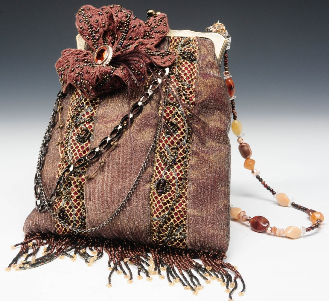 MARY FRANCES PURSE WITH FLOWER AND BEADED FRINGE