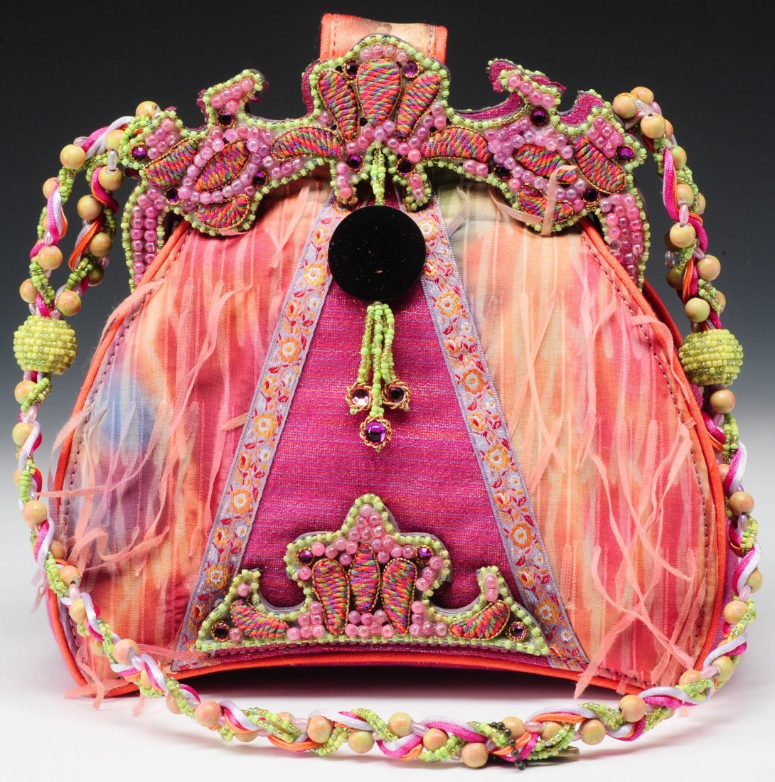 HOT PINK, GREEN AND ORANGE BEADED MARY FRANCES PURSE