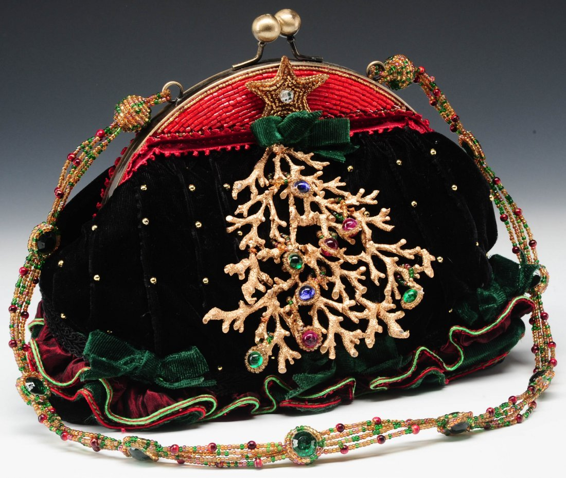 VELVET PURSE WITH A CHRISTMAS TREE BY MARY FRANCES