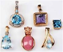 FIVE VERMEIL AND ONE 14 K GOLD GEMSTONE PENDANTS