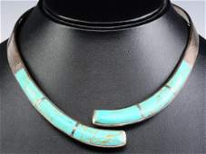 MEXICAN STERLING COLLAR NECKLACE WITH TURQUOISE