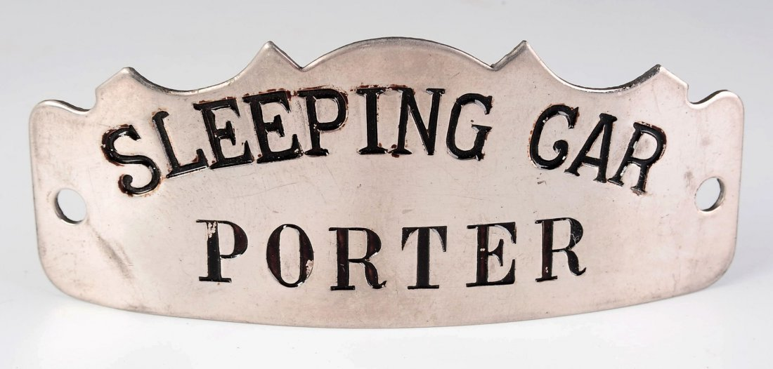 UNATTRIBUTED RAILROAD SLEEPING CAR PORTER CAP BADGE
