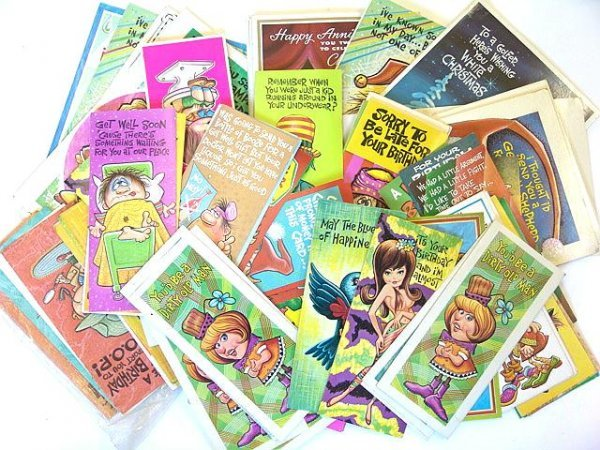 1: 100'S OF  VINTAGE 1960's GREETINGS CARDS W/PERIOD DE