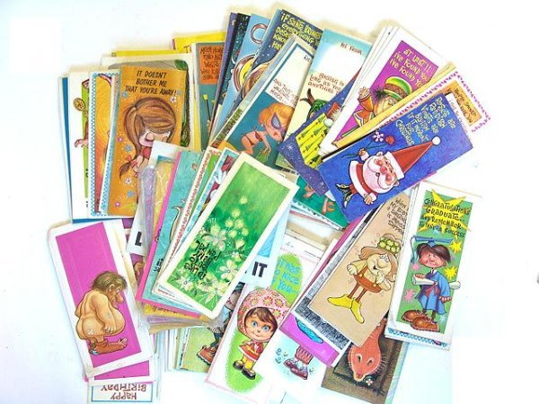 2: 100'S OF  VINTAGE 1960's GREETINGS CARDS W/PERIOD DE