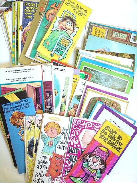 3: 100'S OF  VINTAGE 1960's GREETINGS CARDS W/PERIOD DE