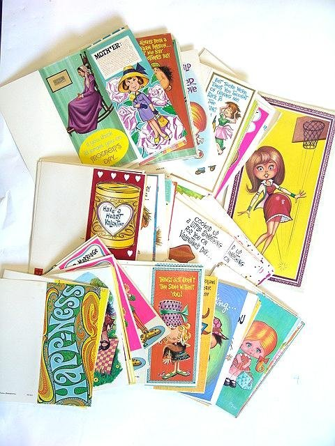 4: 100'S OF  VINTAGE 1960's GREETINGS CARDS W/PERIOD DE