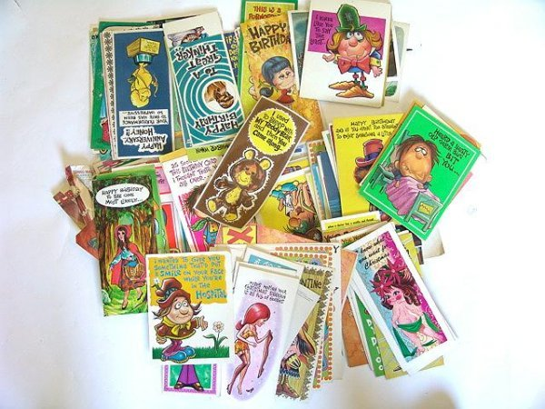 5: 100'S OF  VINTAGE 1960's GREETINGS CARDS W/PERIOD DE