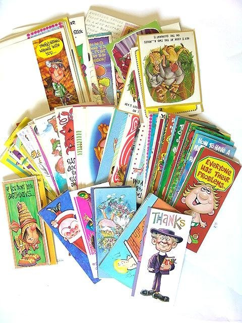 6: 100'S OF  VINTAGE 1960's GREETINGS CARDS W/PERIOD DE