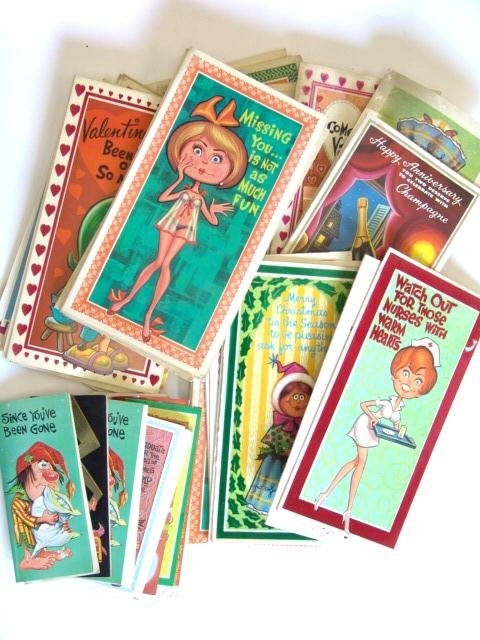 7: 100'S OF  VINTAGE 1960's GREETINGS CARDS W/PERIOD DE