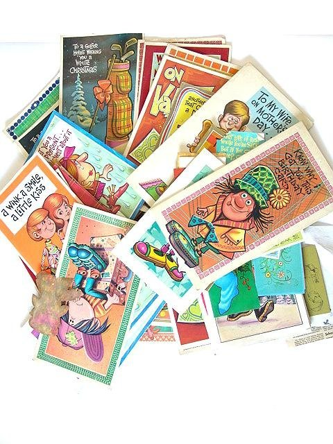 8: 100'S OF  VINTAGE 1960's GREETINGS CARDS W/PERIOD DE