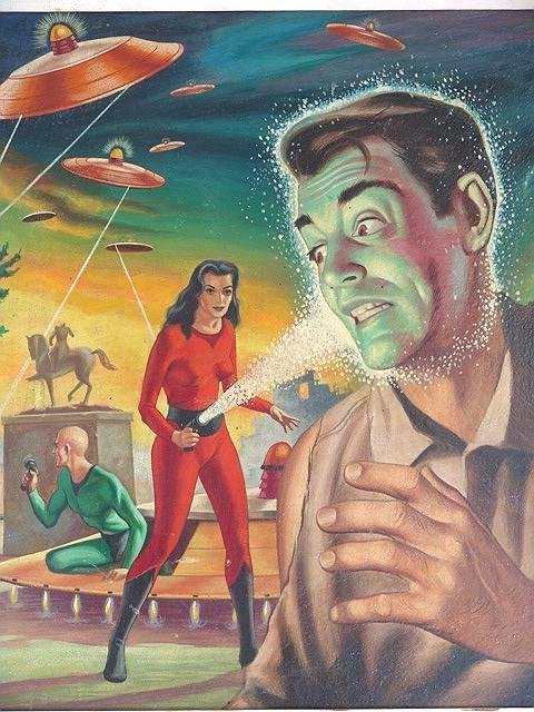181: 1956 PULP SCI FI ORIGINAL COVER ILLUSTRATION BY LL