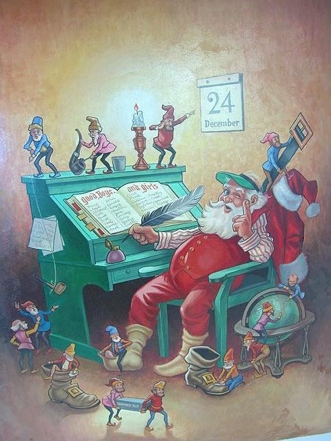226: OIL ON BOARD OF SANTA CLAUS BY LLOYD ROGNAN (1923-