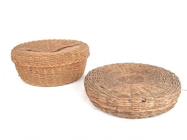 492: TWO AMERICAN INDIAN COVERED BASKETS W/ SWEET GRASS