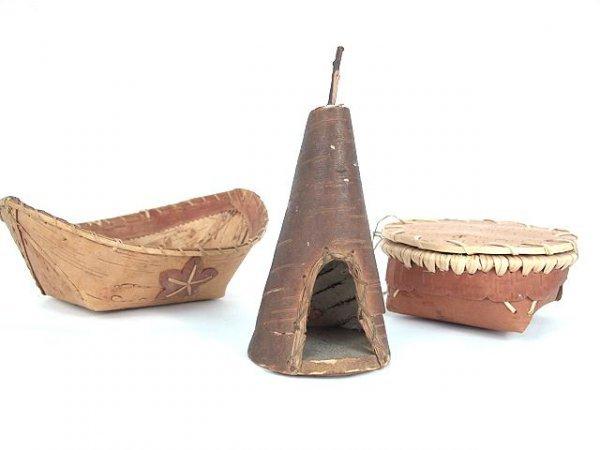 494: THREE AMERICAN INDIAN BIRCH BARK NOVELTIES