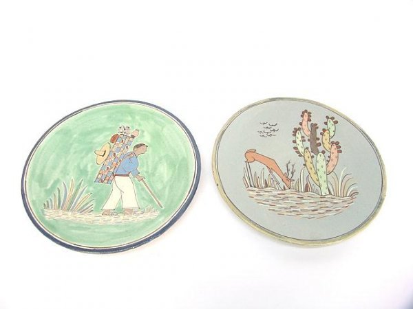 499: TWO MEXICAN FOLK ART REDWARE PLATES WITH FIGURES