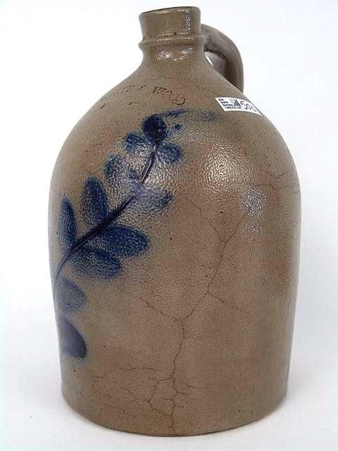 500: EARLY BLUE DECORATED STONEWARE JUG BY WHITE & WOOD