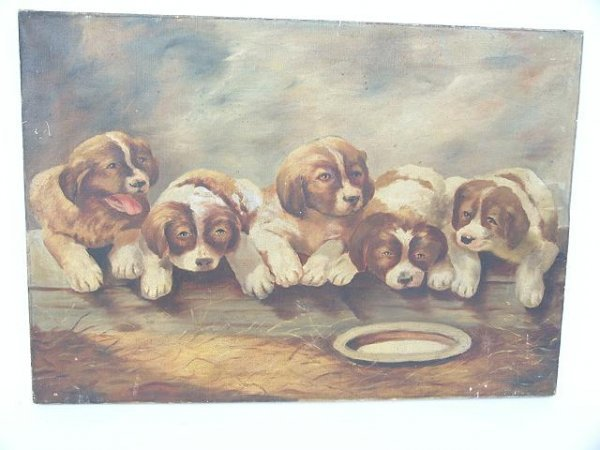 512: 1900'S PRIMITIVE PAINTING ON CANVAS OF FIVE PUPPIE