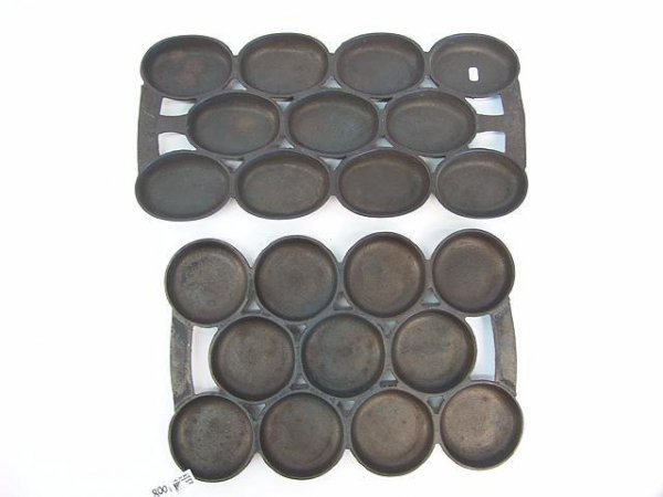 1008: TWO UNMARKED UNUSUAL CAST IRON MUFFIN PANS