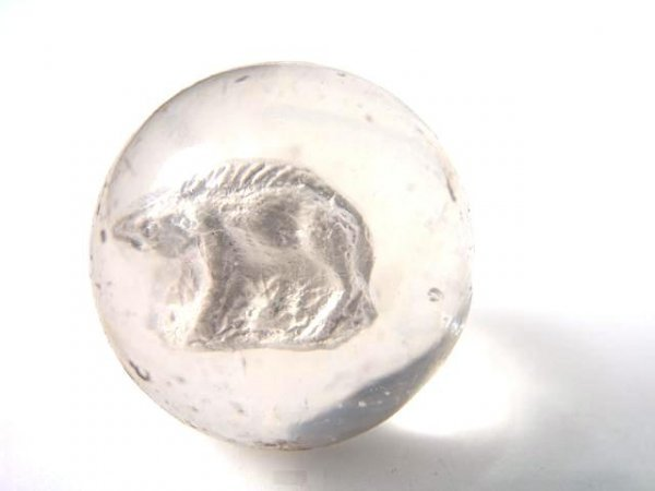 2001: 1 5/8 INCH SULPHIDE MARBLE WITH MYSTERY ANIMAL