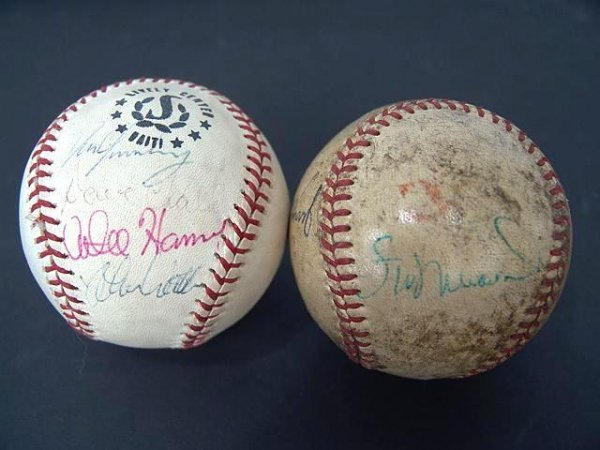 2017: TWO SIGNED BASEBALLS: MUSIAL, STALEY & CHALK