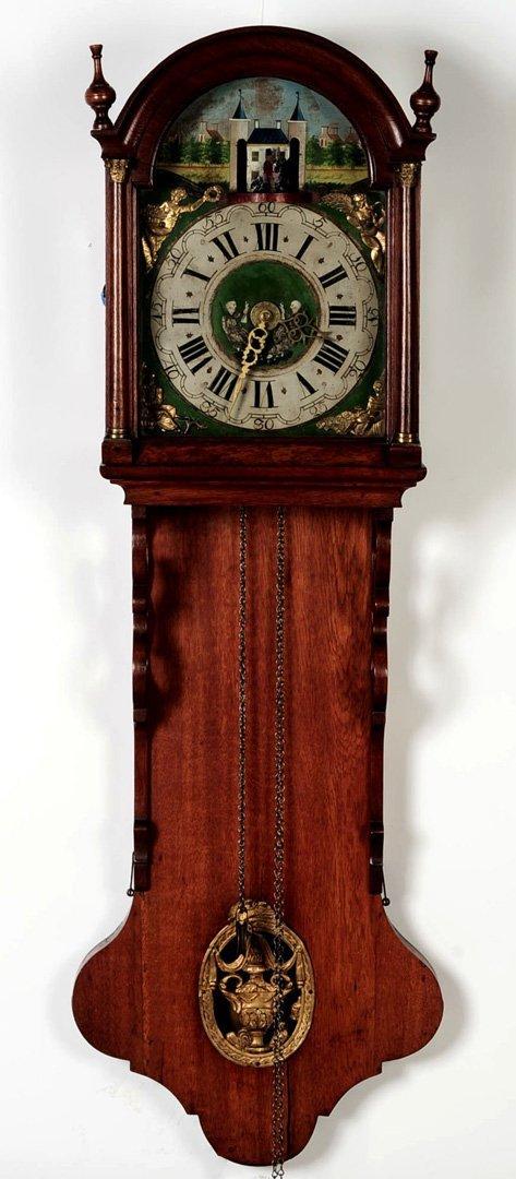 AN ANIMATED 18TH C. DUTCH FRIESLAND WALL CLOCK