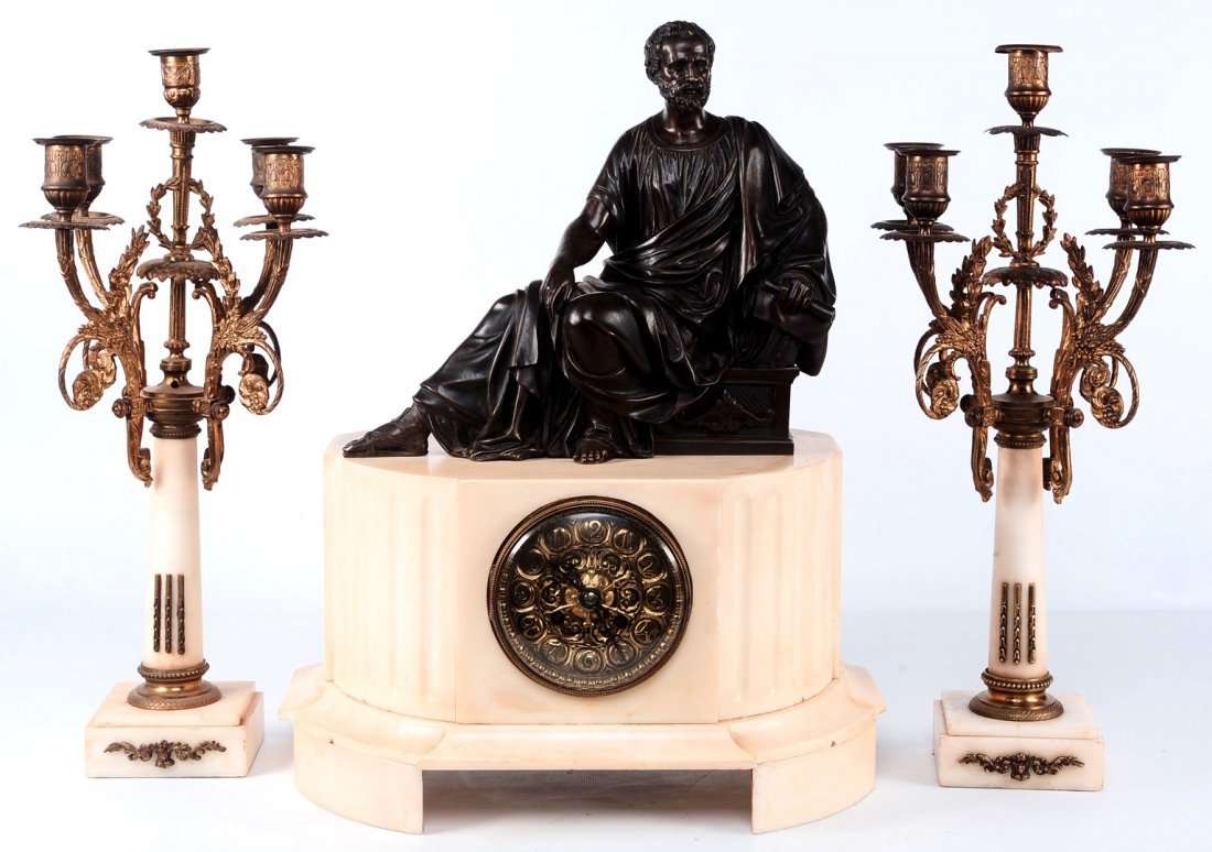 FRENCH MARBLE AND BRONZE CLOCK SET SIGNED H. LUPPENS