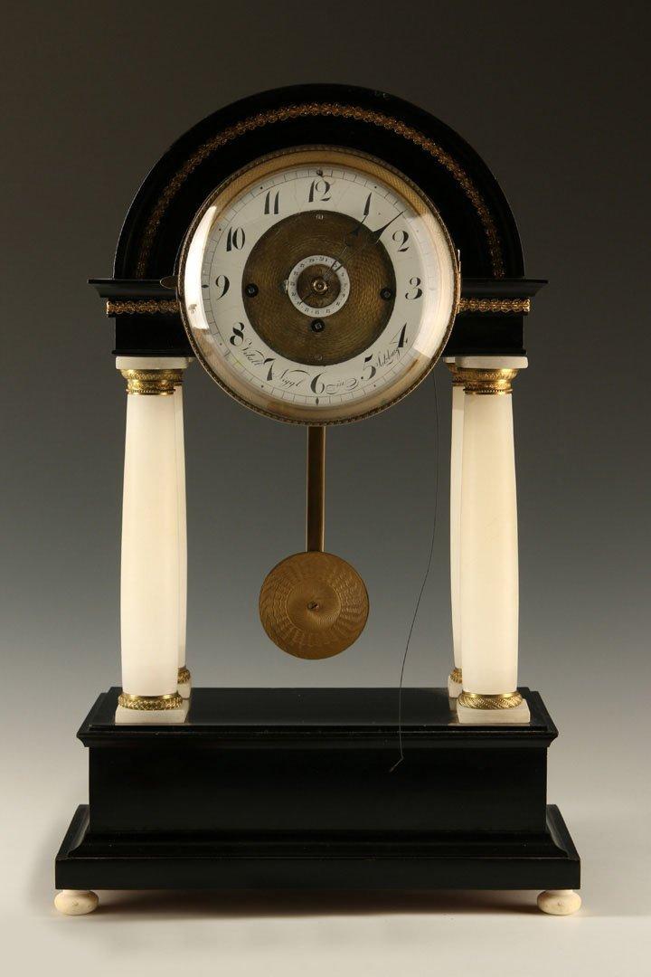 C. 1820S VITALL NIGGL PORTICO CLOCK WITH CALENDAR