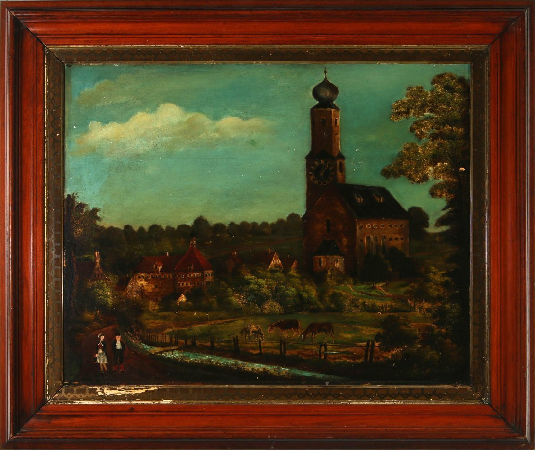 A 19TH C CONTINENTAL OIL ON PANEL PICTURE FRAME CLOCK
