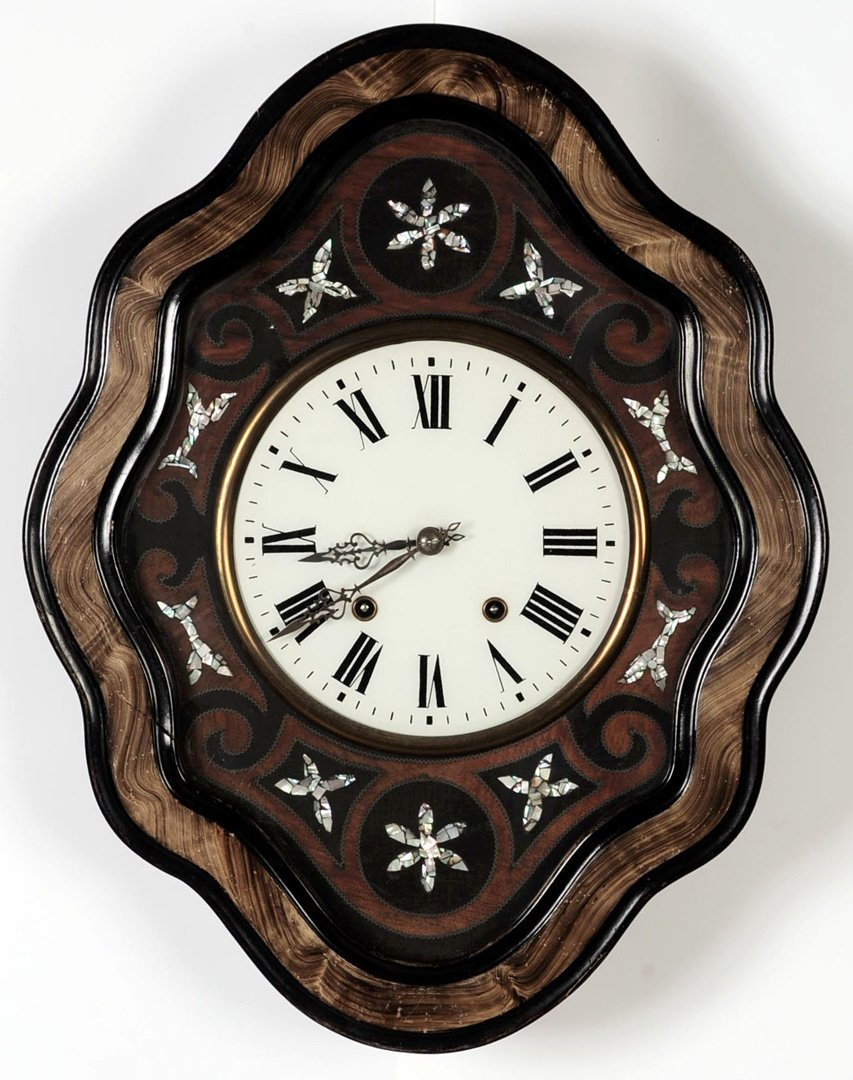 FRENCH PICTURE FRAME CLOCK WITH INLAID PEARL