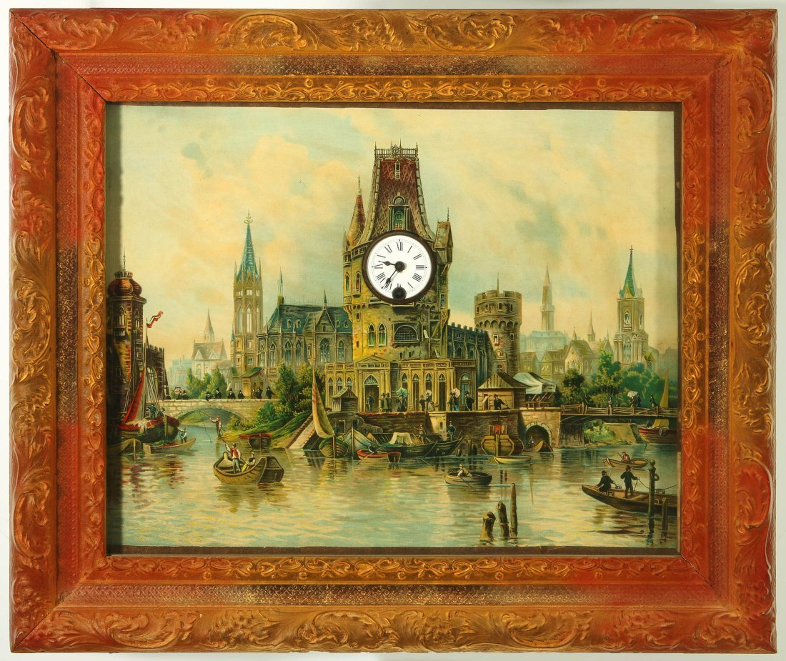 A 19TH C. GERMAN MUSICAL PICTURE FRAME CLOCK