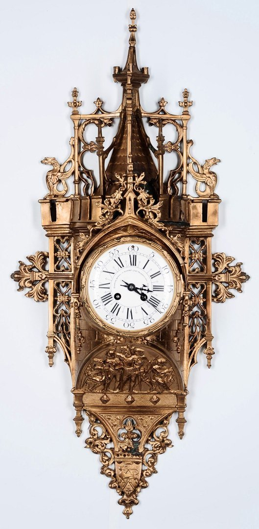 AN ORNATE GOTHIC 19TH C. FRENCH BRONZE CARTEL CLOCK
