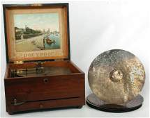 A GOOD POLYPHON DISC MUSIC BOX WITH SIX BELLS