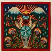THREE HUICHOL MEXICAN FOLK ART PAINTINGS