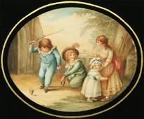 ENGLISH SCHOOL VICTORIAN WATERCOLORS OF CHILDREN