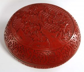 A Large Fine Chinese Carved Cinnabar Lacquer Box