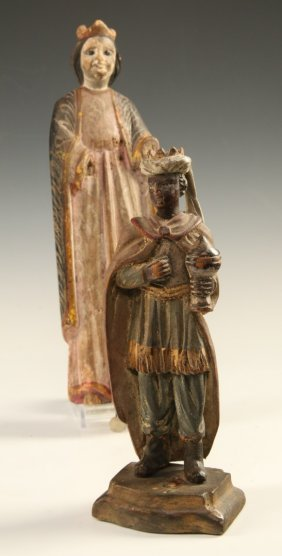 Two C. 1800 Carved And Gessoed Painted Figures