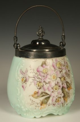 A Wavecrest Biscuit Jar With Silver-plated Lid
