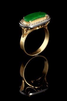 A Ladies 18k Two-tone Jadite And Diamond Ring