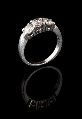 A Ladies Platinum Past, Present, Future Diamond Ring