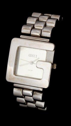A Gucci Square Letter 'g' Silver Tone Wrist Watch