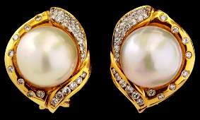 PAIR 18K GOLD PEARL AND DIAMOND PIERCED EARRINGS