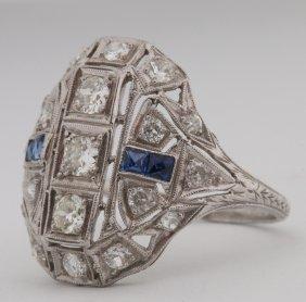 A Ladies Antique Platinum Diamond & Sapphire Ring